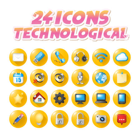 Set of Realistic Colored Technological Icon on Yellow Buttons on White Background . Isolated Vector Elements
