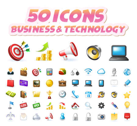 Set of 50 Realistic High Quality Colorful Business and Technology Icons on White Background . Isolated Vector Elements