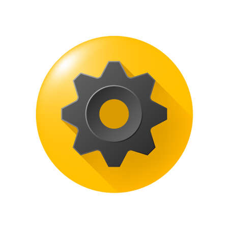 Realistic Gear Emoticon on Yelloe Button on White Background . Isolated Vector Illustration 矢量图像