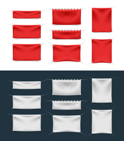 Realistic 3D Textile Banner with Folds on White Background . Isolated Vector Elements