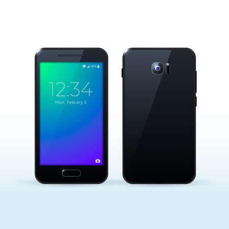 Realistic High Quality Smartphone for your Designs. Isolated Vector Elements Vektoros illusztráció