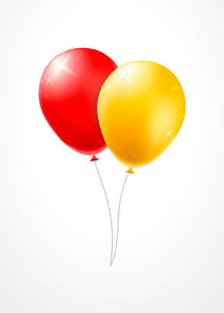 Set of Groups and Bunches of Colorful Helium Balloons on White Background . Isolated Vector Elements