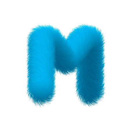 High Quality 3D Shaggy Letter M on White Background . Isolated Vector Element