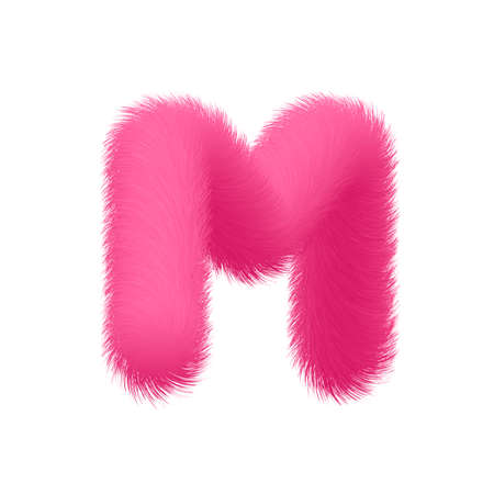 High Quality 3D Shaggy Letter M on White Background . Isolated Vector Element Иллюстрация