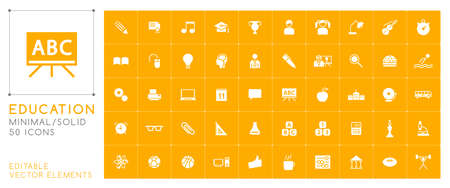 Set of 50 Universal Education Icons on Color Background . Isolated Elements