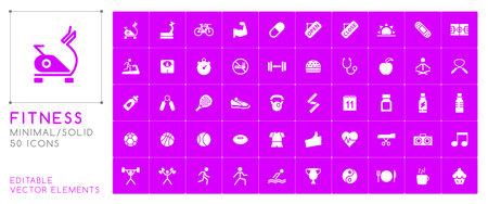 Set of 50 Universal Fitness Icons on Color Background . Isolated Elements Ilustracja