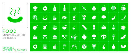 Set of 50 Universal Solid Food Icons on Color Background . Isolated Elements