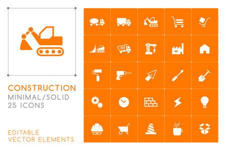 Set of 25 Universal Construction Icons on Color Background . Isolated Elements Illusztráció