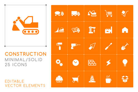 Set of 25 Universal Construction Icons on Color Background . Isolated Elements Illustration