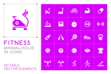 Set of 25 Universal Fitness Icons on Color Background. Isolated Elements