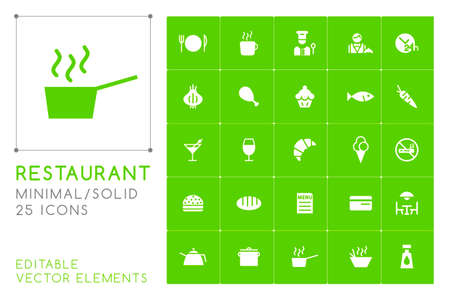 Set of 25 Universal Restaurant Icons on Color Background . Isolated Elements Ilustracja