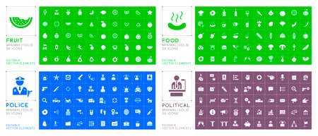 Set of 200 Universal Solid Food , Police and Political Icons on Color Background . Isolated Elements