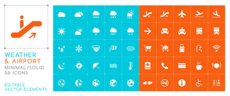 Set of 50 Universal Weather and Airport Icons on Color Background . Isolated Elements