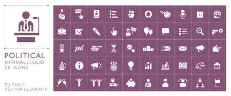 Set of 50 Universal Solid Political Icons on Color Background . Isolated Elements