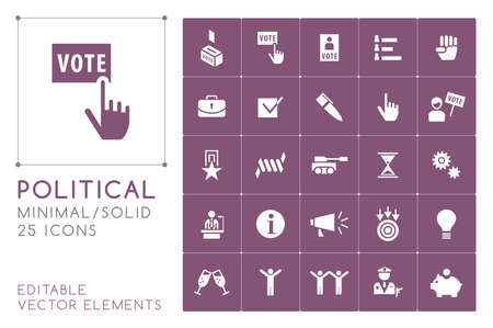 Set of 25 Universal Solid Political Icons on Color Background . Isolated Elements