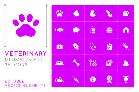 Set of 25 Universal Veterinary Icons on Color Background . Isolated Elements Ilustracja