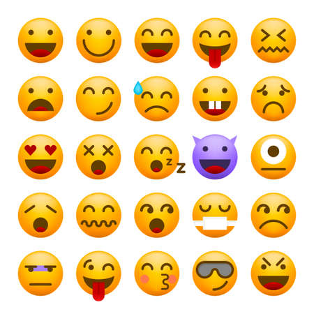 Cute High Quality Emoticon on White Background for your Design . Isolated Vector Illustration Vetores