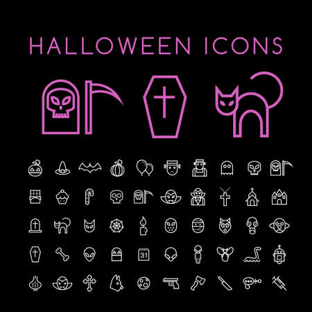 Set of 50 Minimal Thin Line White Halloween Icons on Black Background. Isolated Vector Elements. Illustration