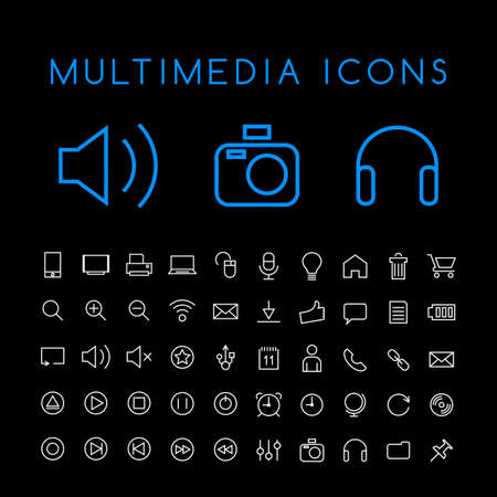 Set of 50 Minimal Thin Line White Multimedia Icons on Black Background. Isolated Vector Elements