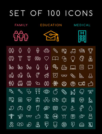 Set of 100 Universal Minimal White Stroke Icons on Black Background ( Education School Family People and Medical ) Иллюстрация