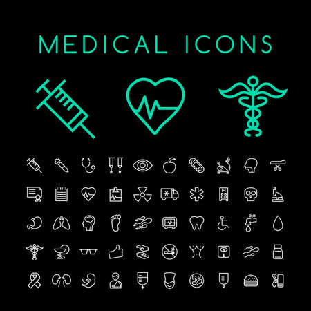 Set of 50 Minimal Thin Line White Medical Icons on Black Background. Isolated Vector Elements