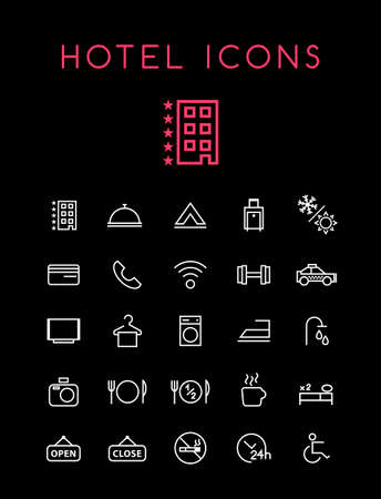 Set of Quality Universal Standard Minimal Simple Hotel White Thin Line Icons on Black Background