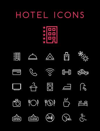 Set of Quality Universal Standard Minimal Simple Hotel White Thin Line Icons on Black Background Illustration