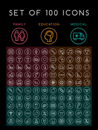 Set of 100 Universal Minimal White Stroke Icons on Circular Buttons on Black Background (Education School Family People and Medical)
