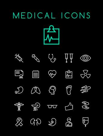 Set of Minimal Simple Medical Thin Line Icons on Black Background Иллюстрация