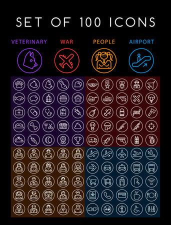 Set of 100 Minimal Universal Modern Elegant White Thin Line Icons (Veterinary War People and Airport) on Black Background Иллюстрация