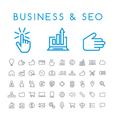 Set of 50 Minimal Thin Line Business and SEO Icons on White Background . Isolated Vector Elements