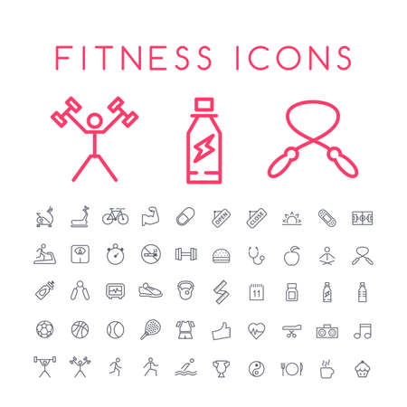 Set of 50 Minimal Thin Line Fitness Icons on White Background . Isolated Vector Elements Vektorové ilustrace