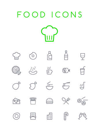 Set of Quality Isolated Universal Standard Minimal Simple Black Thin Line Food and Drink Icons on White Background