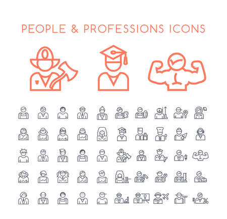 Set of 50 Minimal Thin Line People and Professions Icons on White Background . Isolated Vector Elements
