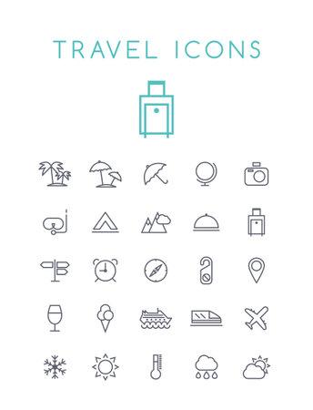 Set of Quality Universal Standard Minimal Simple Travel Black Thin Line Icons on White Background Illustration
