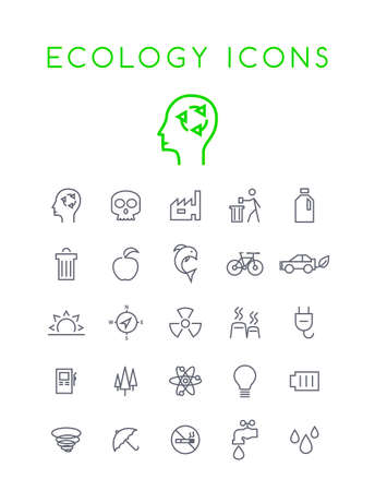 Set of Minimal Simple Ecology Thin Line Icons on White Background