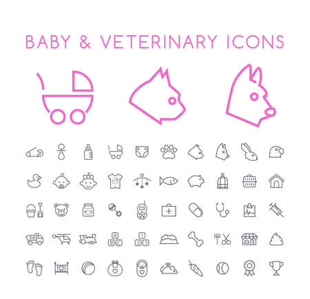 Set of 50 Minimal Thin Line Baby and Veterinary Icons on White Background . Isolated Vector Elements