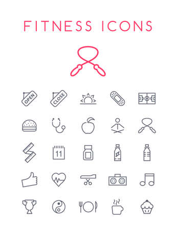 Set of Quality Isolated Universal Standard Minimal Simple Fitness Black Thin Line Icons on White Background