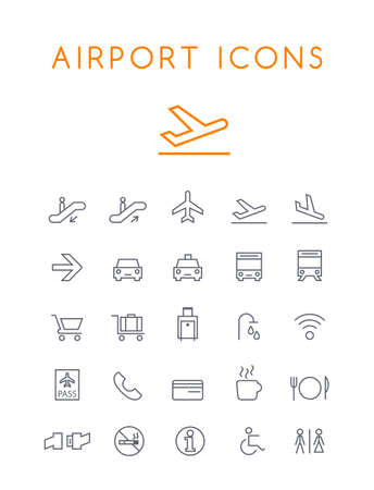 Set of Quality Universal Standard Minimal Simple Airport Black Thin Line Icons on White Background