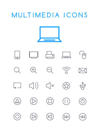 Set of Minimal Simple Multimedia and Interface Thin Line Icons on White Background