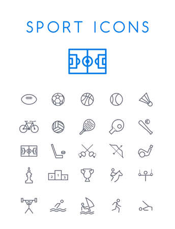 Set of Quality Isolated Universal Standard Minimal Simple Sport Black Thin Line Icons on White Background Stock Illustratie