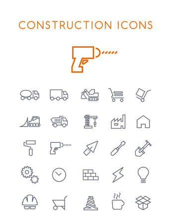 Set of Quality Universal Standard Minimal Simple Construction Black Thin Line Icons on White Background
