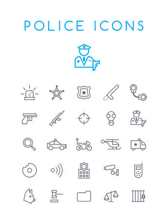 Set of Quality Isolated Universal Standard Minimal Simple Police Black Thin Line Icons on White Background