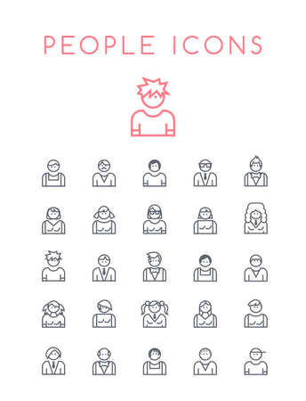 Set of 50 Minimal and Solid People Icons on White Background . Vector Isolated Elements Illustration
