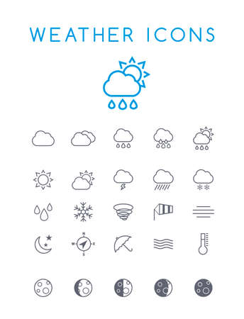Set of Quality Isolated Universal Standard Minimal Simple Weather Black Thin Line Icons on White Background Illustration