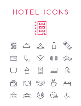 Set of Quality Universal Standard Minimal Simple Hotel Black Thin Line Icons on White Background