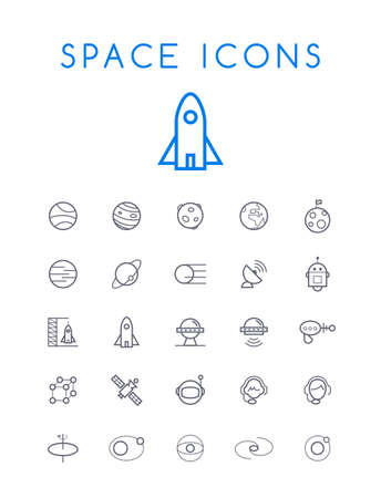 Set of Quality Isolated Universal Standard Minimal Simple Space Black Thin Line Icons on White Background Illustration