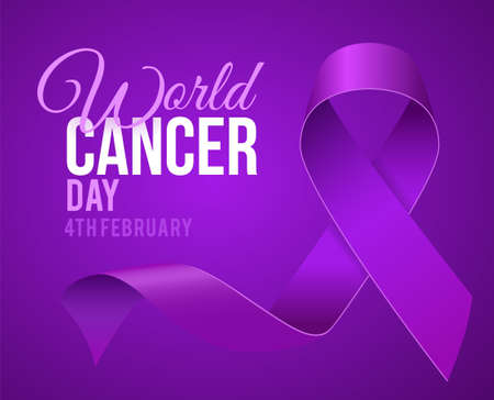 High Quality World Cancer Day Background with 3D Purple Ribbon for your Design . Isolated Vector Elements Illustration