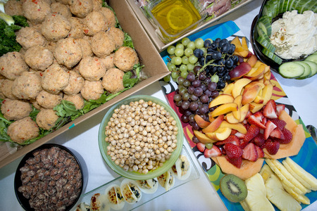crabcake, nuts, fruit party tray