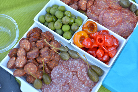 party tray: fruit and sausage party tray
